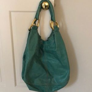 67c14b020963 Miu Miu Bags - Miu Miu Distressed Leather Teal Hobo Bag